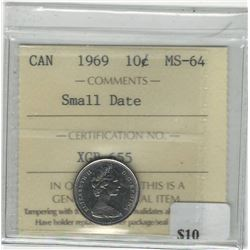 Canada 1969 10 Cents Small Date ICCS MS64