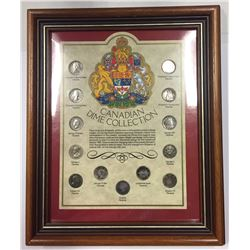 Canada Silver 10 Cent Collection in Frame
