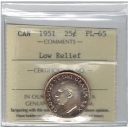 Canada 1951 Silver 25 Cent Low Relief ICCS PL65 Scarce