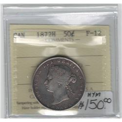 Canada 1872H Silver 50 Cent ICCS F12