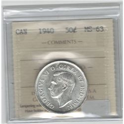 Canada 1940 Silver 50 Cent ICCS MS63