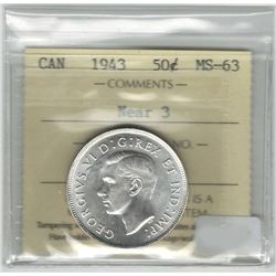 Canada 1943 Silver 50 Cent Near 3 ICCS MS63
