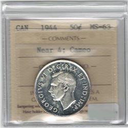 Canada 1944 Silver 50 Cent Near 4 ICCS MS63 Cameo