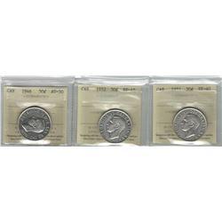 Canada 1946, 1951, 1952 Silver 50 Cent Lot. All ICCS EF-AU