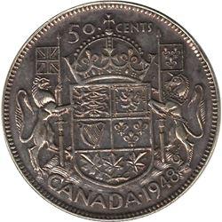 Canada 1948 Silver 50 Cent VF20