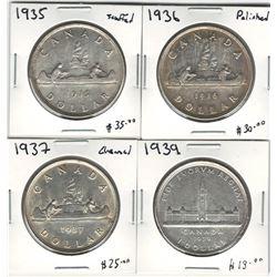Canada 1935, 1936, 1937 & 1939 Silver Dollar Lot