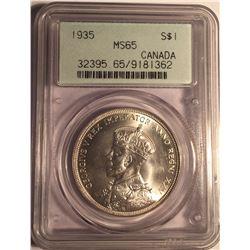 Canada 1935 Silver Dollar PCGS MS65