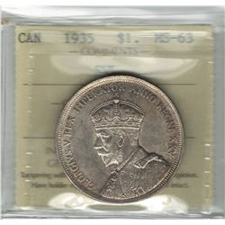 Canada 1935 Silver Dollar Short Water Line ICCS MS63