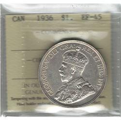 Canada 1936 Silver Dollar ICCS EF45