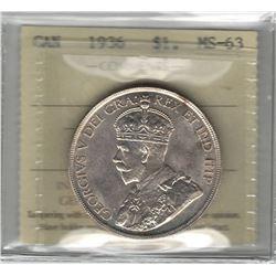 Canada 1936 Silver Dollar ICCS MS63