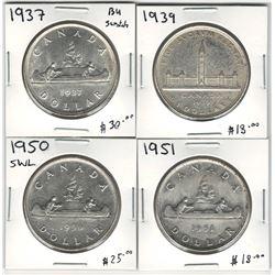 Canada 1937, 1939, 1950 SWL & 1951 Silver Dollar Lot