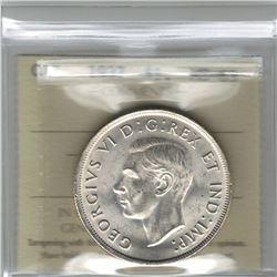 Canada 1937 Silver Dollar ICCS MS63