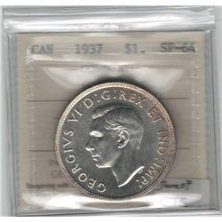 Canada 1937 Silver Dollar ICCS SP64 Matte