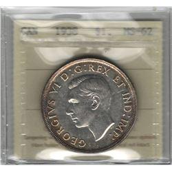 Canada 1938 Silver Dollar ICCS MS62
