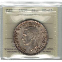 Canada 1939 Silver Dollar ICCS MS62