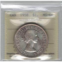 Canada 1958 Silver Dollar ICCS MS64