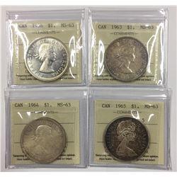 Canada 1958, 1963, 1964, 1965 Silver Dollar Lot ICCS MS63