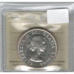 Canada 1958 Silver Dollar ICCS PL65
