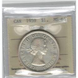 Canada 1959 Silver Dollar ICCS MS64