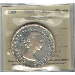 Canada 1959 Silver Dollar ICCS PL66