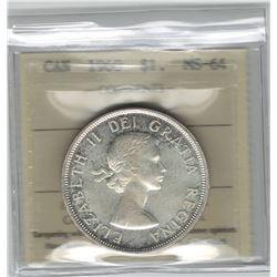 Canada 1960 Silver Dollar ICCS MS64