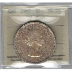 Canada 1962 Silver Dollar ICCS MS64