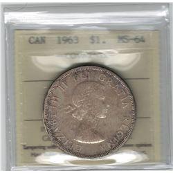 Canada 1963 Silver Dollar ICCS MS64