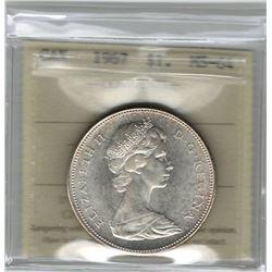 Canada 1967 Silver Dollar ICCS MS64