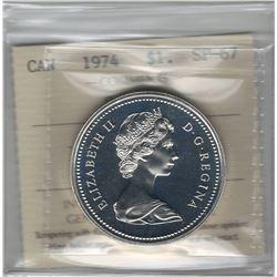 Canada 1974 Winnipeg Silver Dollar ICCS SP67