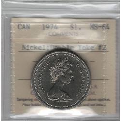 Canada 1974 Winnipeg Nickel Dollar Double Yoke VCR#2 ICCS MS64
