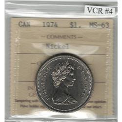 Canada 1974 Winnipeg Nickel Dollar Double Yoke VCR#4 ICCS MS63