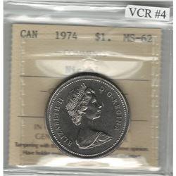 Canada 1974 Winnipeg Nickel Dollar Double Yoke VCR#4 ICCS MS62