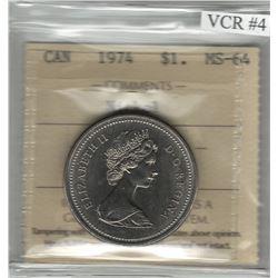 Canada 1974 Winnipeg Nickel Dollar Double Yoke VCR#4 ICCS MS64