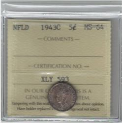 Canada Newfoundland 1943C Silver 5 Cent ICCS MS64
