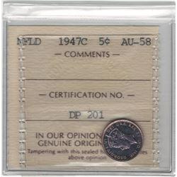 Canada Newfoundland 1947C Silver 5 Cent ICCS AU58