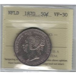 Canada Newfoundland 1870 Silver 50 Cent ICCS VF30