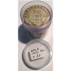 Canada Newfound 1917C Roll of Silver 50 Cent Coins.