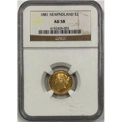 Canada Newfoundland 1881 Gold $2 NGC AU58