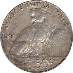 Belgium 1901 Silver 50 Centimes