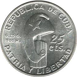 Cuba 1953 Silver 25 Centavos
