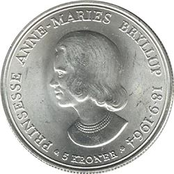 Denmark 1964 Silver 5 Kroner