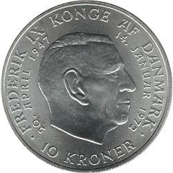 Denmark 1972 Silver 10 Kroner