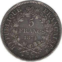 France 1874A Silver 5 Francs