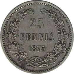 Finland 1875S Silver 25 Pennia