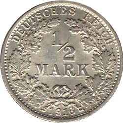 Germany 1916G Silver 1/2 Mark