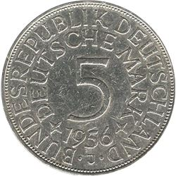 Germany 1956J Silver 5 Mark