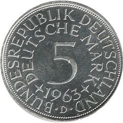 Germany 1963D Silver 5 Mark