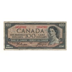 Canada 1954 $100 Banknote Beattie-Coyne A/J