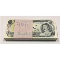 Canada 1973 $1 Banknotes 100 in Sequence. BFG Prefix.