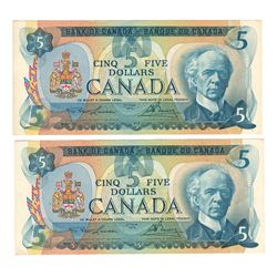 Canada 1979 $5 Banknotes 2 in Sequence. Lawson-Bouey